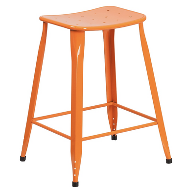 24 Inch High Orange Metal Indoor-Outdoor Counter Height Stool Price Is For Set Of 4 Pieces-furniture-Tool Mart Inc.