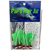 1 8 oz Paps Hair Jig 5 Pack White Red Head Green Tail