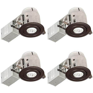 3 in. Oil Rubbed Bronze IC Rated Swivel Spotlight LED Recessed Lighting Kit, LED Bulbs Included (4-Pack) Damaged Box-recessed fixtures-Tool Mart Inc.