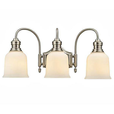3-Light Satin Nickel Vanity Light with Frosted White Glass Damaged Box-vanity lights-Tool Mart Inc.