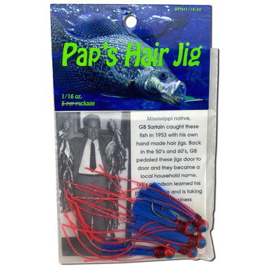 1/16 oz. Pap's Hair Jig 5 Pack - Red Head/Blue Tail