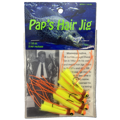 1/16 oz. Pap's Hair Jig 5 Pack - Orange & Yellow Head/Yellow Tail