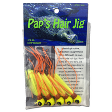1/4 oz. Pap's Hair Jig 5 Pack - Orange & Yellow Head/Yellow Tail