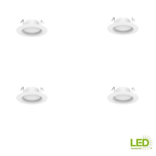4 in. White Integrated LED Recessed Trim, Daylight (4-Pack) Damaged Box-recessed fixtures-Tool Mart Inc.