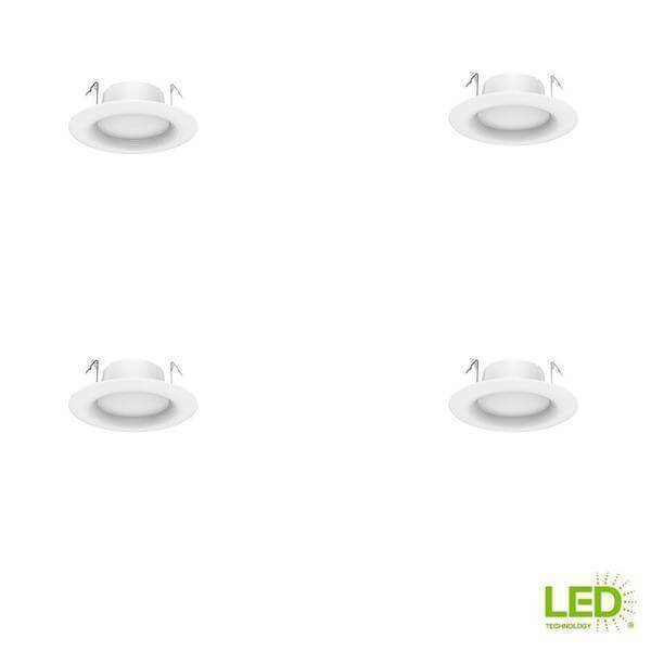 4 in. White Integrated LED Recessed Trim, Soft White (4-Pack) Damaged Box-recessed fixtures-Tool Mart Inc.