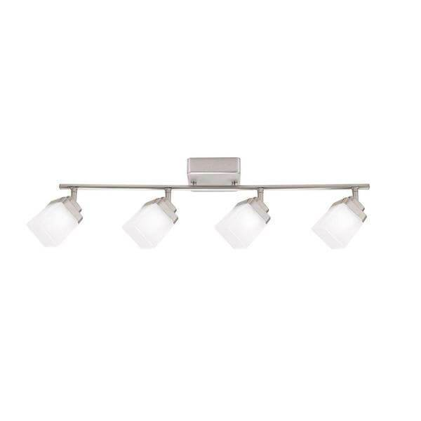 4-Light Brushed Nickel LED Dimmable Fixed Track Lighting Kit with Straight Bar Frosted Square Glass Damaged Box-Lighting-Tool Mart Inc.