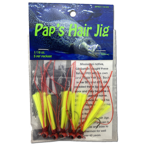 1/16 oz. Pap's Hair Jig 5 Pack - Red Head/Yellow Tail