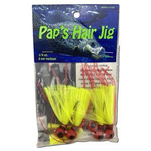 1/4 oz. Pap's Hair Jig 5 Pack - Red Head/Yellow Tail
