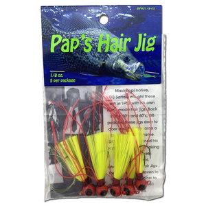 1/8 oz. Pap's Hair Jig 5 Pack - Red Head/Yellow Tail
