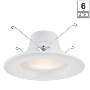 6 in. and 5 in. White Integrated LED Recessed Trim (6-Pack) Damaged Box-recessed fixtures-Tool Mart Inc.