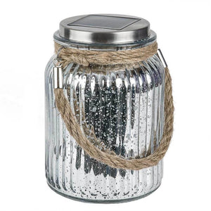 6 in. Solar Integrated LED Chrome Glass Mason Jar Light with Rotating Lens Damaged Box-solar lights-Tool Mart Inc.