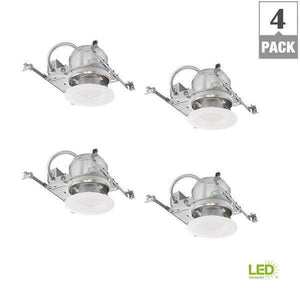 6 in. White Integrated LED Recessed Trim Kit (4-Pack) Damaged Box-recessed fixtures-Tool Mart Inc.