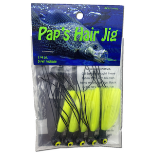 1/4 oz. Pap's Hair Jig 5 Pack - Black Head/Yellow Tail