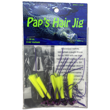 1 16 oz Paps Hair Jig 5 Pack Purple Head Yellow Tail