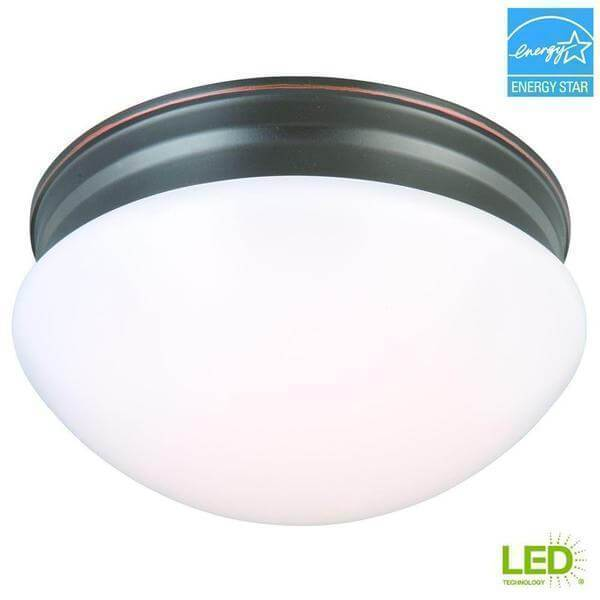 9 in. 60-Watt Equivalent Oil-Rubbed Bronze Integrated LED Mushroom Flush Mount with White Acrylic Shade Damaged Box-Lighting-Tool Mart Inc.