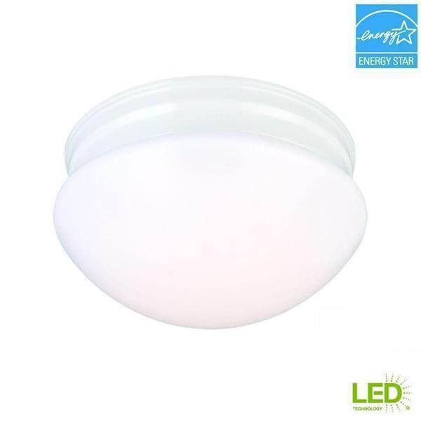 9 in. 60-Watt Equivalent White Integrated LED Mushroom Flush Mount with White Acrylic Shade Damaged Box-Lighting-Tool Mart Inc.
