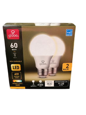 Globe LED 60 Watt Light Bulbs 2 Pack