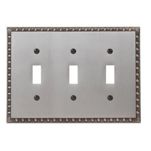 Amerelle Egg and Dart 3-Gang Toggle Wall Plate, Antique Nickel Damaged Box-outlets, switches, & plates-Tool Mart Inc.