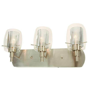 Arnstein 3-Light Brushed Nickel Bathroom Vanity Light with Clear Glass and Mesh Shades Damaged Box-vanity lights-Tool Mart Inc.