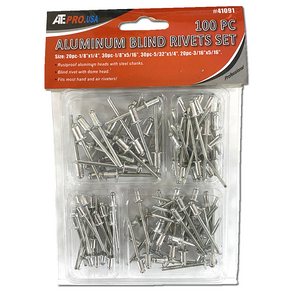 100 Piece Aluminum Blind Rivets Set