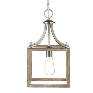 Boswell Quarter 9.44 in. 1-Light Brushed Nickel Mini Pendant with Painted Weathered Gray Wood Accents Damaged Box-Lighting-Tool Mart Inc.