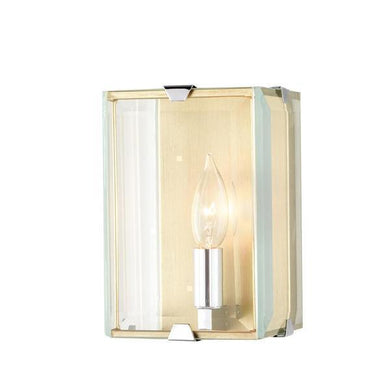 Brenton 1-Light Champagne Silver Sconce with Beveled Glass Panels Damaged Box-sconces & wall fixtures-Tool Mart Inc.