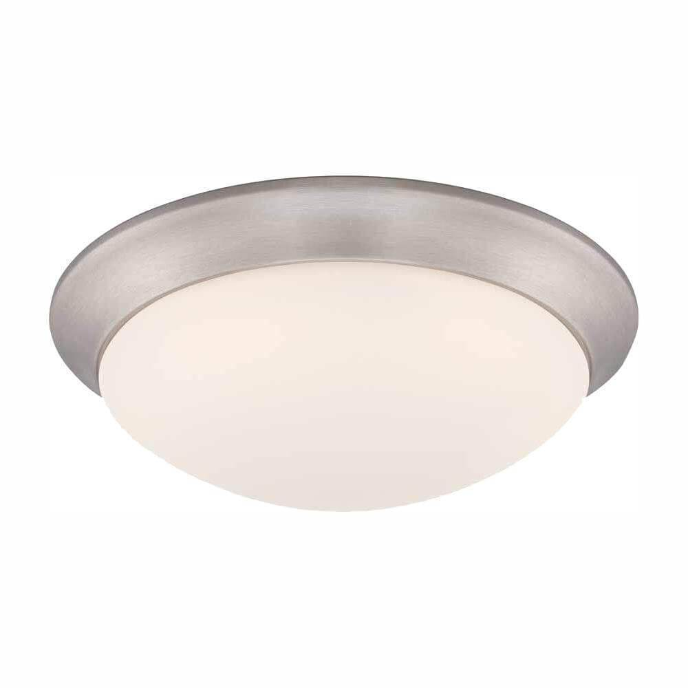 Brushed nickel integrated LED flush mount with frosted white glass shade damaged box-Lighting-Tool Mart Inc.