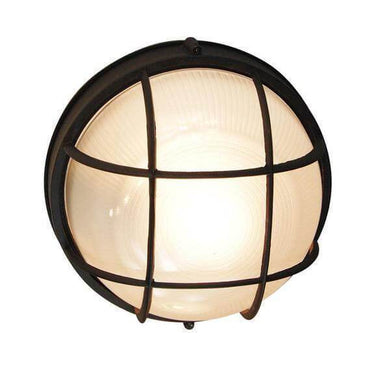 Bulkhead 1-Light Outdoor Black Wall or Ceiling Mounted Fixture with Frosted Glass Damaged Box-outdoor lighting-Tool Mart Inc.