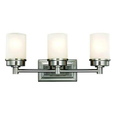 Cade 3-Light Brushed Nickel Vanity Light with Frosted Glass Shades Damaged Box-vanity lights-Tool Mart Inc.