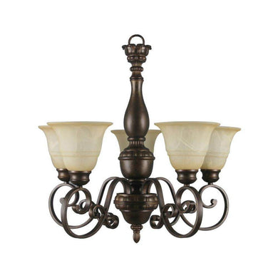 Carina 5-Light Aged Bronze Chandelier with Tea-Stained Glass Shade Damaged Box-Lighting-Tool Mart Inc.