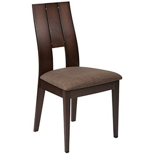 Flash Furniture Emerson Espresso Finish Wood Dining Chair With Curved Slat Key Hole Back And Golden Honey Brown Fabric Seat