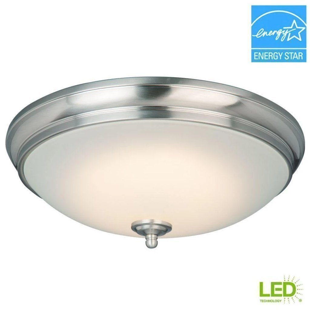 Commercial Electric 13 in. 60-Watt Equivalent Brushed Nickel Integrated LED Flush Mount with White Glass Shade Damaged Box-light-Tool Mart Inc.