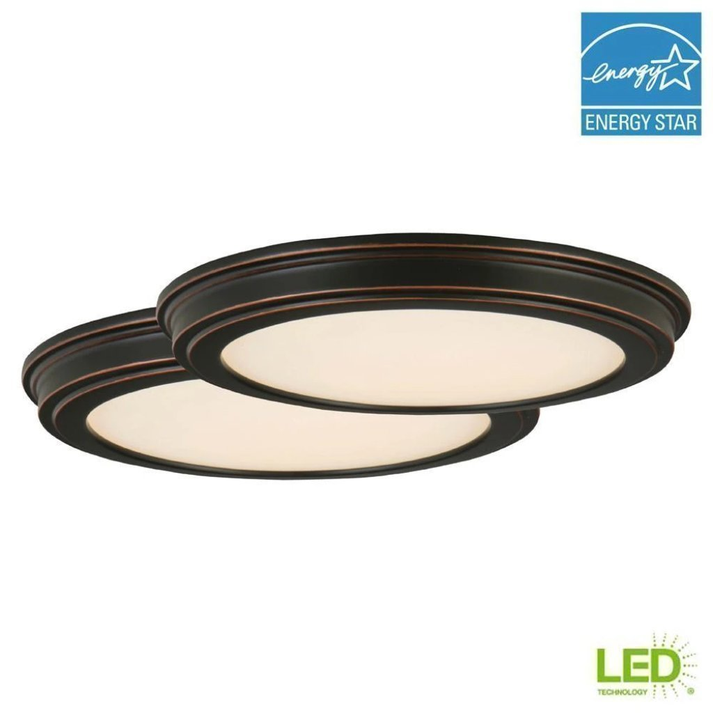 Commercial Electric 13 in. Oil Rubbed Bronze LED Ceiling Flush Mount with White Acrylic Shade (2-Pack) Damaged Box-light-Tool Mart Inc.