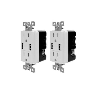 Commercial Electric 3.6 Amp Dual Usb Charger & 15 Amp Receptacle, White (2-pack) Damaged Box-outlets, switches, & plates-Tool Mart Inc.