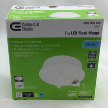 Commercial Electric Lightbulb Replacement Fixture 7 in. Round White 60 Watt Equivalent Integrated LED Flush Mount (Daylight) Damaged Box-Lighting-Tool Mart Inc.