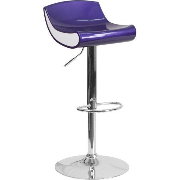 Contemporary Blue Purple and White Adjustable Height Plastic Barstool with Chrome Base Set of 2 Barstools-furniture-Tool Mart Inc.