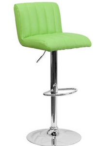 Contemporary Green Vinyl Adjustable Height Bar Stool with Chrome Base Price Is For Two Stools-furniture-Tool Mart Inc.