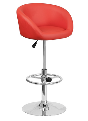 Contemporary Red Vinyl Adjustable Height Barstool with Chrome Base Price Is For Two Stools-furniture-Tool Mart Inc.