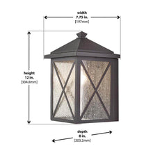 Criss Cross 1-Light Black Medium Outdoor Wall Mount Lantern with Seeded Glass Damaged Box-outdoor lighting-Tool Mart Inc.