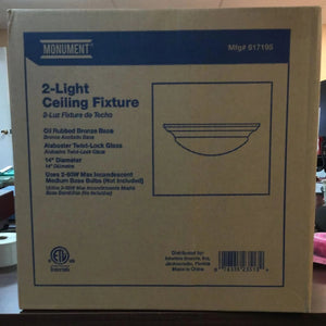 "Decorative 14"" 2 Lights Ceiling Fixture, Incandescent Medium Base, Oil Rubbed Bronze-Lighting-Tool Mart Inc."