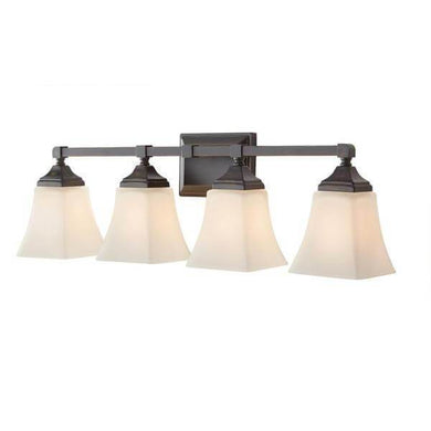 Delancy 4-Light Distressed Bronze Sconce with White Frosted Glass Shades Damaged box-vanity lights-Tool Mart Inc.
