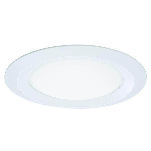 E26 Series 5 in. White Recessed Ceiling Light Self Flanged Shower Trim with Frosted Glass Lens Damaged Box-recessed fixtures-Tool Mart Inc.