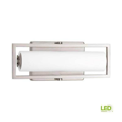 Frame Collection 15-Watt Brushed Nickel Integrated LED Bathroom Vanity Light with Glass Shades Damaged Box-vanity lights-Tool Mart Inc.
