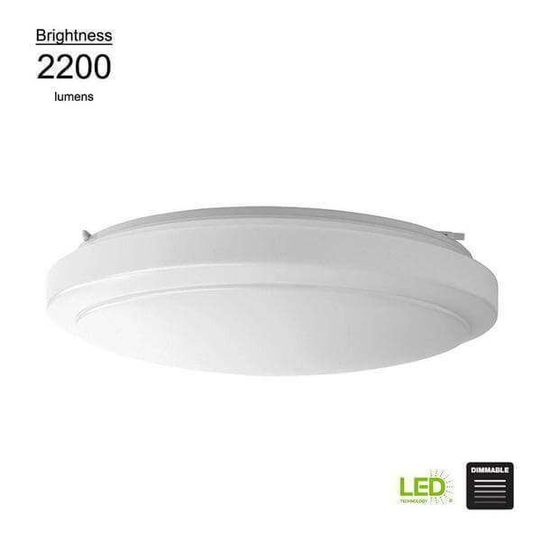 Functional Style 20 in. Round White 150 Watt Equivalent Integrated LED Flush Mount (Bright/Cool White, Dimmable) Damaged Box-Lighting-Tool Mart Inc.