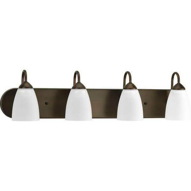 Gather 4-Light Antique Bronze Bathroom Vanity Light with Glass Shades Damaged Box-vanity lights-Tool Mart Inc.