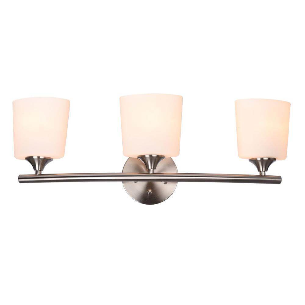 Greylock brushed nickel light with bowed bar and oval glass shades *damaged box-vanity lights-Tool Mart Inc.