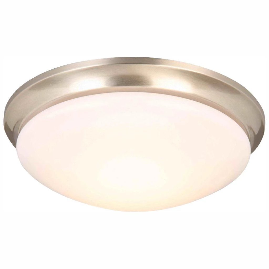 Hampton Bay 13 in. 360-Watt Equivalent Brushed Nickel Integrated LED Flush Mount with Frosted Glass Shade Damaged Box-light-Tool Mart Inc.