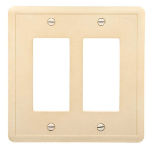 Hampton Bay 2-GFCI Wall Plate, Travertine Damaged Box-outlets, switches, & plates-Tool Mart Inc.