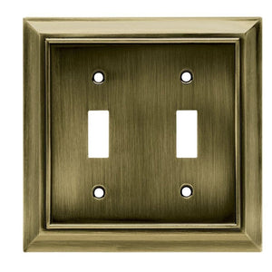 Hampton Bay Architectural Decorative Double Switch Plate, Antique Brass Damaged Box-outlets, switches, & plates-Tool Mart Inc.