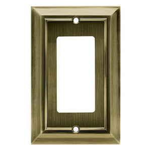Hampton Bay Architectural Decorative Single Rocker Switch Plate, Antique Brass Damaged Box-outlets, switches, & plates-Tool Mart Inc.